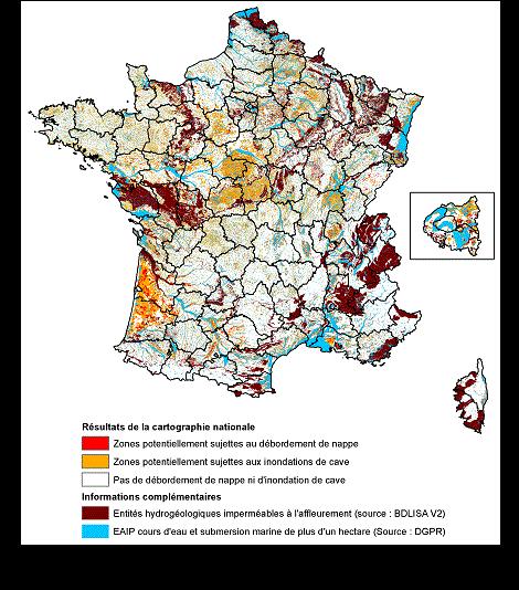 carte nappe phréatique france 2020 Cartographie des remontées de nappes | Géorisques